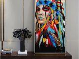 Native American Wall Murals Native American Indian Girl Canvas Art Wall Paintings Watercolor