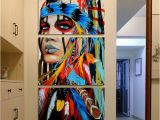 Native American Wall Murals Painting Canvas Printed Poster Modern 3 Panel Native American Girl