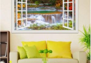 Nature Murals for Walls 3d Window View Wall Sticker Decal Sticker Home Decor Living Room