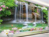 Nature Murals for Walls Custom Wallpaper 3d Nature Scenery Waterfall Swan Mural Living