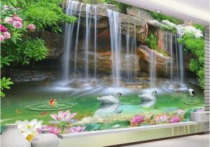 Nature Murals for Walls Custom Wallpaper 3d Nature Scenery Waterfall Swan Mural Living