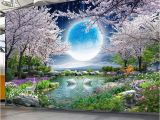 Nature Wall Mural Paintings Custom Mural Wall Paper Moon Cherry Blossom Tree Nature Landscape