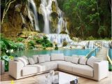 Nature Wall Murals Cheap 3d forest Waterfall Wallpaper Lake and Bridge Wall Mural In
