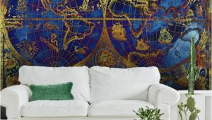 Nautical Map Wall Mural Vintage Metallic Blue and Gold World Map Wallpaper Mural