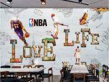 Nba Wall Murals Cartoon Wall Paper Modern 3d Basketball Star Wallpaper Mural