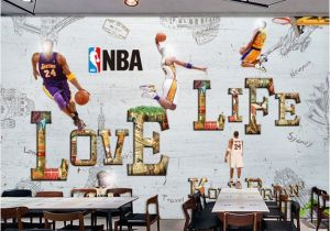 Nba Wall Murals Cartoon Wall Paper Modern 3d Basketball Star Wallpaper Mural