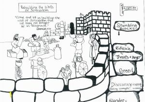 Nehemiah Builds the Wall Coloring Page Wall Coloring Page