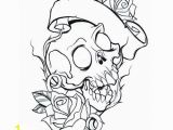 New School Tattoo Coloring Pages Skull and Roses Coloring Pages for Adults