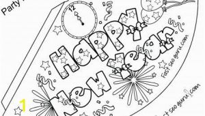 New Years Coloring Pages Printable Print Out Happy New Year Party Hat Coloring for Kids