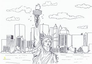 New York City Coloring Pages for Kids New York City Skyline Pencil Drawing Sketch Coloring Page