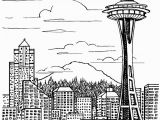 New York City Skyline Coloring Pages Seattle Skyline