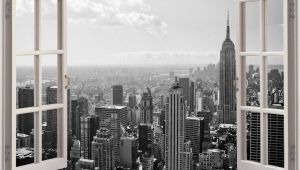 New York City Skyline Wall Mural Huge 3d Window New York City View Wall Stickers Mural