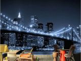 New York Lights Wall Mural Night In New York the Lights the Bridge the River High