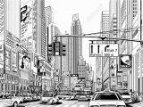 New York Skyline Mural Black and White Illustration Of A Street In New York City Illustration