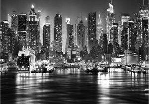 New York Wall Mural by Robert Harrison New York City at Night Skyline View Black & White Wallpaper Mural