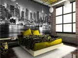 New York Wall Mural Uk New York City at Night Skyline View Black & White Wallpaper Mural