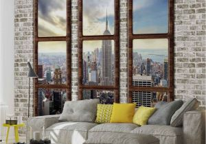 New York Wall Mural Wallpaper Wall Mural New York City Skyline Window View Xxl Photo