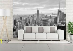 New York Wall Mural Wallpaper Wall Mural Panorana Of New York White&black Photo Of