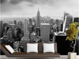 New York Window Wall Mural Black & White 3d Wall Mural Night Scenery New York City Custom 3d Mural for Background Living Room Architectural Removable Wallpaper C Wallpaper