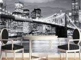 New York Window Wall Mural Custom Mural Manhattan Bridge New York European and American Cities Black and White Living Room Backdrop Wallpaper Mobile Wallpaper Download Mobile