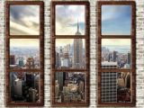 New York Window Wall Mural Fototapete New York Neu New York City Skyline Window View