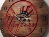 New York Yankee Wall Murals New York Yankees Clock Engraved Wall Art Custom Engraved Wood