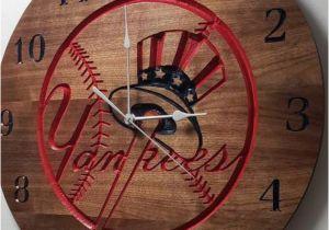 New York Yankee Wall Murals New York Yankees Clock Engraved Wall Art Custom Engraved Wood