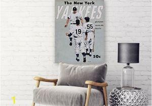 New York Yankee Wall Murals New York Yankees Print Vintage Baseball Poster Retro
