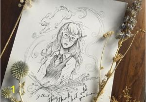 Newt Scamander Coloring Pages Luna Lovegood Hand Drawn Art Print Coloring Page Witchy Wall Decor Harry Potter Art Digital Download Printable Wall Art