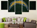 Nfl Wall Murals Framed 5pcs San Diego Chargers Logo Canvas Print Wall Painting Art