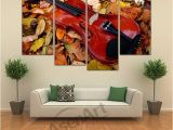 Nude Wall Murals 4 Panel Painting Nude Back Woman Painting Piano Violin Canvas Print