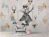 Nude Wall Murals K Geometric Deer Removable Wallpaper Triangle Peel