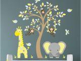 Nursery Jungle Wall Murals Jungle Decal Boys Safari Wall Stickers Yellow Blue and