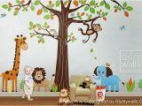 Nursery Jungle Wall Murals Jungle Wall Decal Safari Animals Wall Decal Huge Set Tree