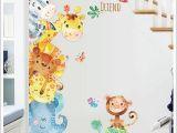 Nursery Jungle Wall Murals Watercolor Painting Cartoon Animals Wall Stickers Kids Room Nursery Decor Wall Mural Poster Art Elephant Monkey Horse Wall Decal Owl Wall Decals Owl