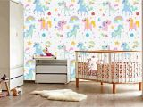 Nursery Room Wall Murals Funny Unicorn Happy Unicorn Rainbow Colorful Nursery Wallpaper Art Beautiful Decor Gorgeous Design Wall Mural Vinyl Adhesive Vinyl