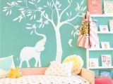 Nursery Tree Wall Mural Elegant White Tree Wall Decal White Elephant Elephant