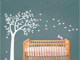 Nursery Tree Wall Mural Huge White Tree Decal with Cute Rabbit and butterflies Vinyl