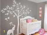 Nursery Tree Wall Mural White Tree Wall Decal Wall Decal with Elephant Tree