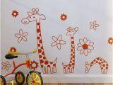 Nursery Wall Mural Decals Rainbow Fox Monkey Climbing On Girafee Growth Chart Wall