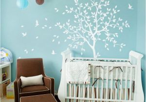 Nursery Wall Murals Uk White Tree Wall Decal Nursery with Birds Studio Wall Decoration