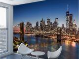 Nyc Skyline Mural Beibehang Custom Wallpaper 3d New York City Night View Large Mural