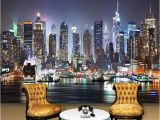 Nyc Skyline Mural Nach 3d Foto Tapete New York Stadt Nacht Wand Malerei Kunst Wandbild