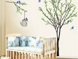 Oak Tree Wall Mural Baby Nursery Amusing Tree Wall Decal Blue Bird Birdcage Wall
