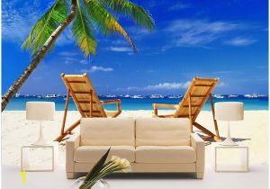 Ocean Beach Wall Murals 3d Wallpaper Custom Mural Beach Wooden Chair Coconut Tree Seascape Tv Background Wall Home Decor Living Room Wallpaper for Walls 3 D Puter