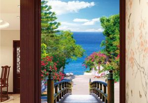 Ocean Murals Wall Decor 3d Bridge Beach Tree Corridor Entrance Wall Mural Decals Art Print
