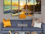 Ocean Sunset Wall Murals 5 Pieces Home Decor Canvas Print Wall Art Ocean Sunset Beach