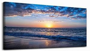 Ocean Sunset Wall Murals Moon Sea Blue Ocean Sunset 1 Piece Framed Canvas