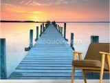 Ocean Sunset Wall Murals Sunset Jetty