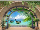 Ocean View Wall Murals 3d Wallpaper Custom 3d Wall Murals Wallpaper Mural Arches Coconut Grove Sea View Background Walls Mural Wall Paper Home Decoration Wallpaper